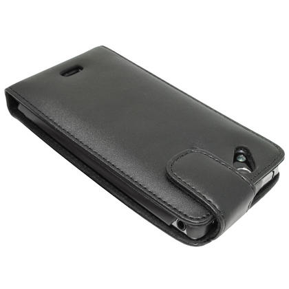 iGadgitz Black Leather Case Cover Holder for Sony Ericsson Xperia Arc S + Screen Protector Thumbnail 4
