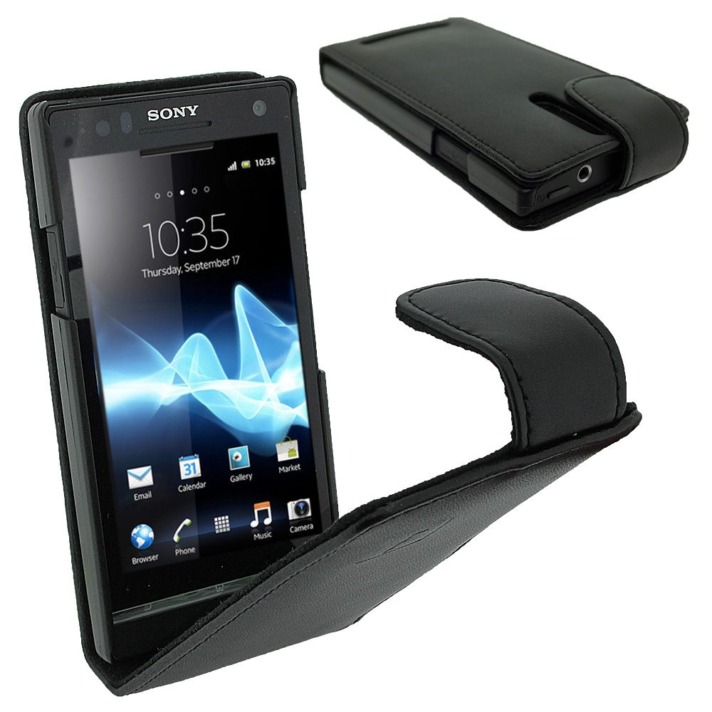 iGadgitz Black Leather Case Cover Holder for Sony Xperia S Android Smartphone Mobile Phone + Screen Protector
