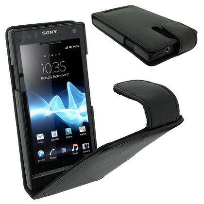 iGadgitz Black Leather Case Cover Holder for Sony Xperia S Android Smartphone Mobile Phone + Screen Protector Thumbnail 1