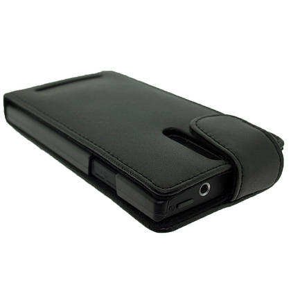 iGadgitz Black Leather Case Cover Holder for Sony Xperia S Android Smartphone Mobile Phone + Screen Protector Thumbnail 4