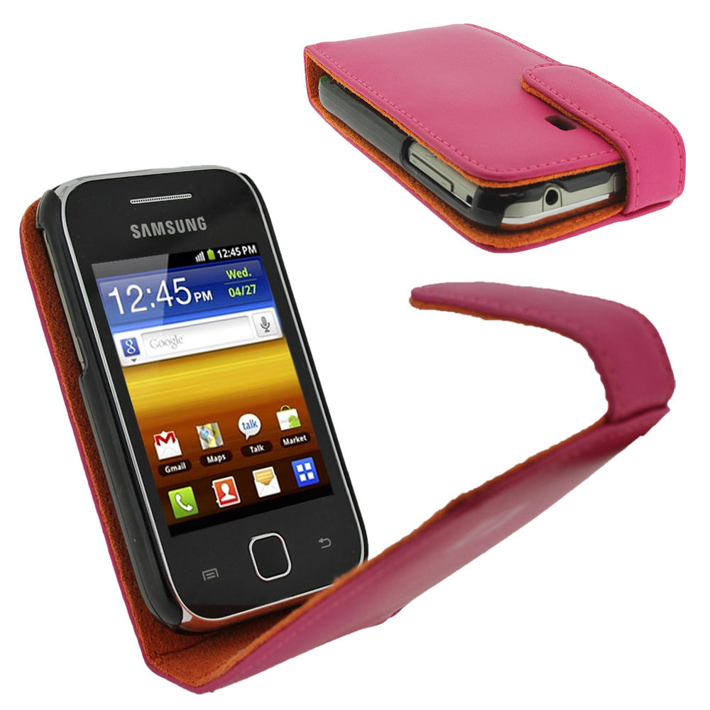 iGadgitz Pink Leather Case Cover Holder for Samsung Galaxy Y S5360 Android Smartphone Mobile Phone + Screen Protector