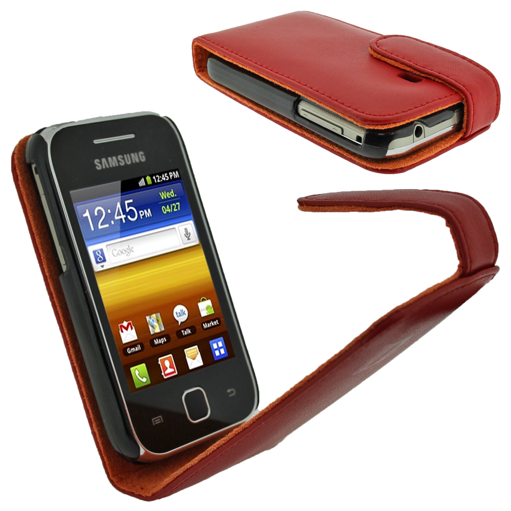 iGadgitz Red Leather Case Cover Holder for Samsung Galaxy Y S5360 Android Smartphone Mobile Phone + Screen Protector