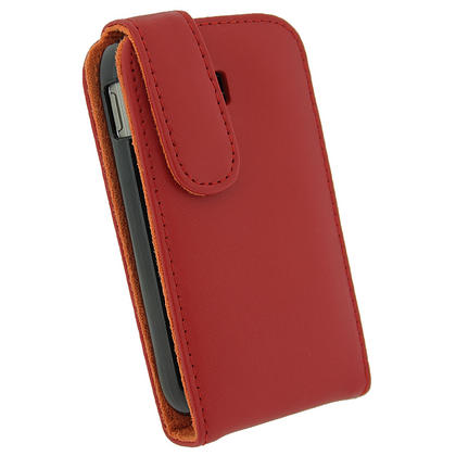 iGadgitz Red Leather Case Cover Holder for Samsung Galaxy Y S5360 Android Smartphone Mobile Phone + Screen Protector Thumbnail 3