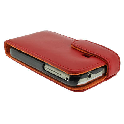 iGadgitz Red Leather Case Cover Holder for Samsung Galaxy Y S5360 Android Smartphone Mobile Phone + Screen Protector Thumbnail 4