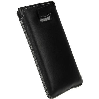 iGadgitz Black Genuine Leather Pouch Case Cover with Elasticated Pull Tab Release System for Nokia Lumia 800 Thumbnail 4