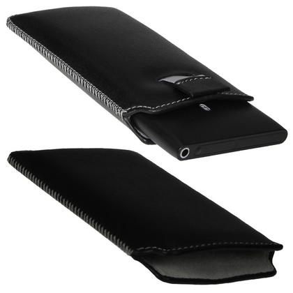 iGadgitz Black Genuine Leather Pouch Case Cover with Elasticated Pull Tab Release System for Nokia Lumia 800 Thumbnail 2