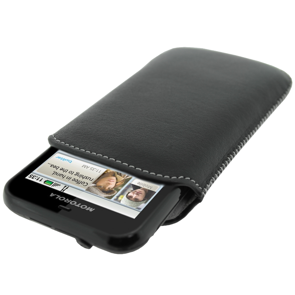 iGadgitz Black Genuine Leather Pouch Case with Elasticated Pull Tab for Motorola Defy MB525 & Defy+ (Plus)
