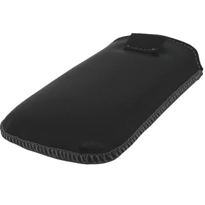 iGadgitz Black Genuine Leather Pouch Case with Elasticated Pull Tab for Motorola Defy MB525 & Defy+ (Plus) Thumbnail 3