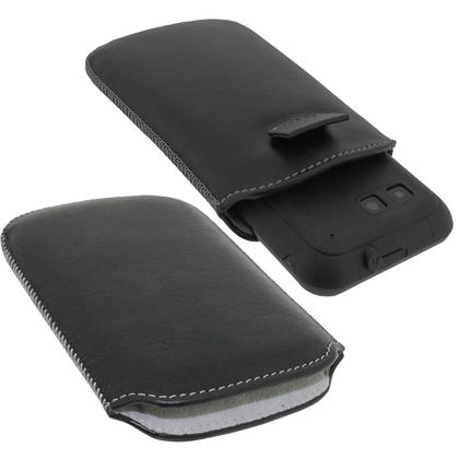 iGadgitz Black Genuine Leather Pouch Case with Elasticated Pull Tab for Motorola Defy MB525 & Defy+ (Plus) Thumbnail 2