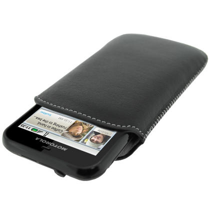 iGadgitz Black Genuine Leather Pouch Case with Elasticated Pull Tab for Motorola Defy MB525 & Defy+ (Plus) Thumbnail 1