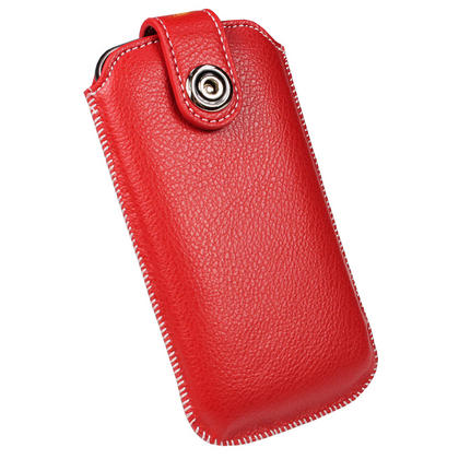 iGadgitz Red Luxury Genuine Leather Pouch Case Cover with Magnetic Closure for Samsung Galaxy Nexus i9250 Thumbnail 6