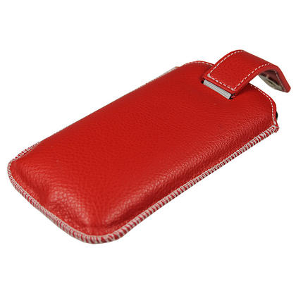 iGadgitz Red Luxury Genuine Leather Pouch Case Cover with Magnetic Closure for Samsung Galaxy Nexus i9250 Thumbnail 5