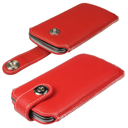 iGadgitz Red Luxury Genuine Leather Pouch Case Cover with Magnetic Closure for Samsung Galaxy Nexus i9250 Thumbnail 1