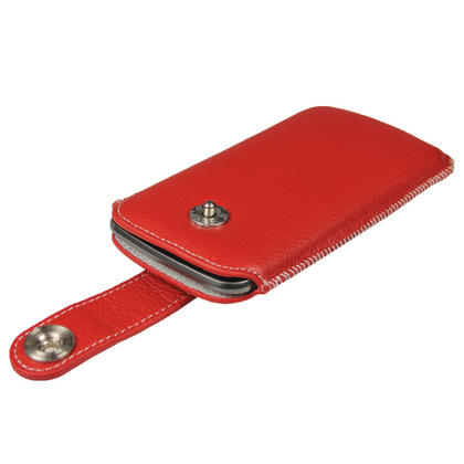 iGadgitz Red Luxury Genuine Leather Pouch Case Cover with Magnetic Closure for Samsung Galaxy Nexus i9250 Thumbnail 2