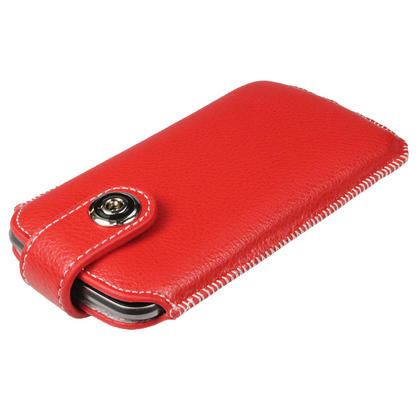 iGadgitz Red Luxury Genuine Leather Pouch Case Cover with Magnetic Closure for Samsung Galaxy Nexus i9250 Thumbnail 3