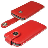 iGadgitz Red Luxury Genuine Leather Pouch Case Cover with Magnetic Closure for Samsung Galaxy Nexus i9250