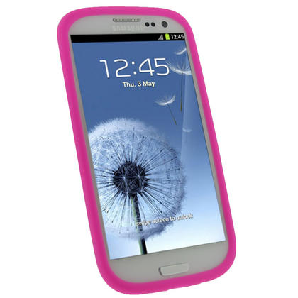 iGadgitz HOT Pink Silicone Skin Case Cover for Samsung Galaxy S3 III i9300 + Screen Protector Thumbnail 2