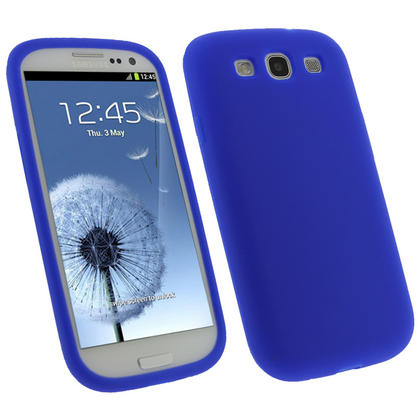 iGadgitz Blue Silicone Skin Case Cover for Samsung Galaxy S3 III i9300 + Screen Protector Thumbnail 1