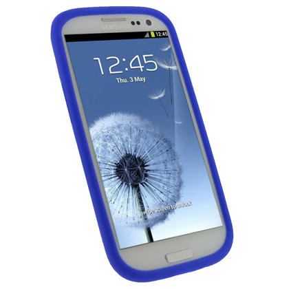 iGadgitz Blue Silicone Skin Case Cover for Samsung Galaxy S3 III i9300 + Screen Protector Thumbnail 3