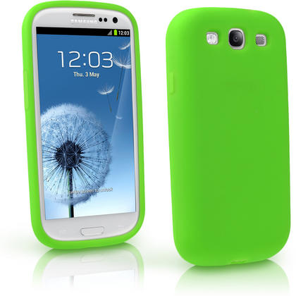 iGadgitz Green Silicone Skin Case Cover for Samsung Galaxy S3 III i9300 + Screen Protector Thumbnail 1