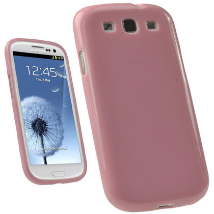 iGadgitz Pink Glossy Gel Case for Samsung Galaxy S3 III i9300 + Screen Protector Thumbnail 1