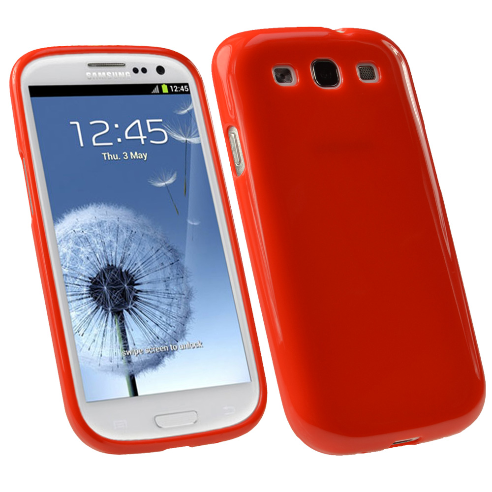 iGadgitz Red Glossy Gel Case for Samsung Galaxy S3 III i9300 + Screen Protector