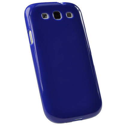iGadgitz Blue Glossy Gel Case for Samsung Galaxy S3 III i9300 + Screen Protector Thumbnail 3