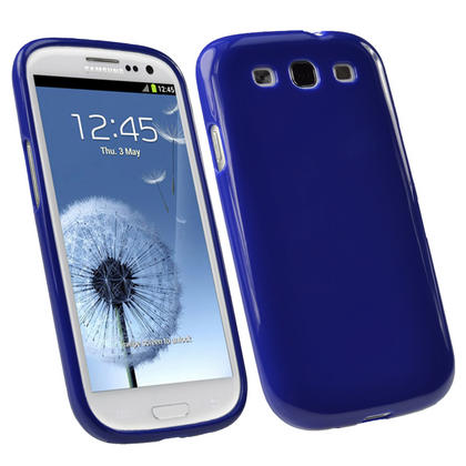 iGadgitz Blue Glossy Gel Case for Samsung Galaxy S3 III i9300 + Screen Protector Thumbnail 1