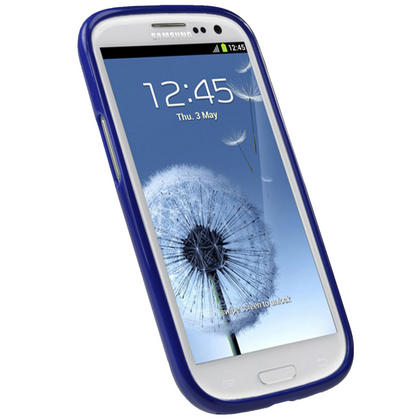 iGadgitz Blue Glossy Gel Case for Samsung Galaxy S3 III i9300 + Screen Protector Thumbnail 2