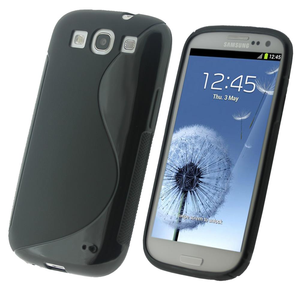iGadgitz Dual Tone Black Gel Case for Samsung Galaxy S3 III i9300 + Screen Protector