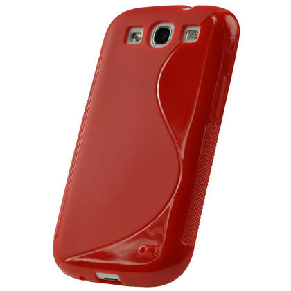 iGadgitz Dual Tone Red Gel Case for Samsung Galaxy S3 III i9300 + Screen Protector Thumbnail 3