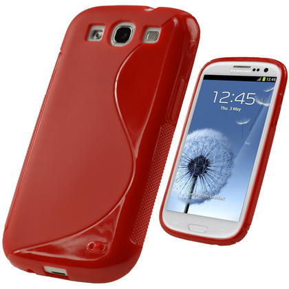 iGadgitz Dual Tone Red Gel Case for Samsung Galaxy S3 III i9300 + Screen Protector Thumbnail 1
