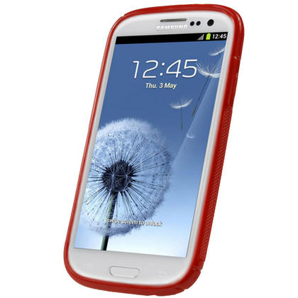 iGadgitz Dual Tone Red Gel Case for Samsung Galaxy S3 III i9300 + Screen Protector Thumbnail 2