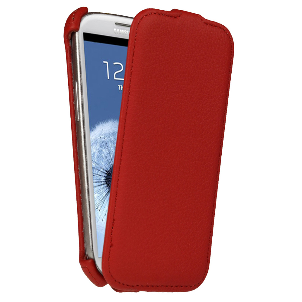 iGadgitz Red PU Leather Flip Case Cover Holder for Samsung Galaxy S3 III i9300 Android Smartphone Mobile Phone