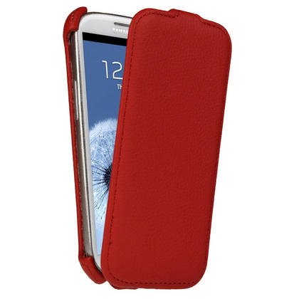 iGadgitz Red PU Leather Flip Case Cover Holder for Samsung Galaxy S3 III i9300 Android Smartphone Mobile Phone Thumbnail 1