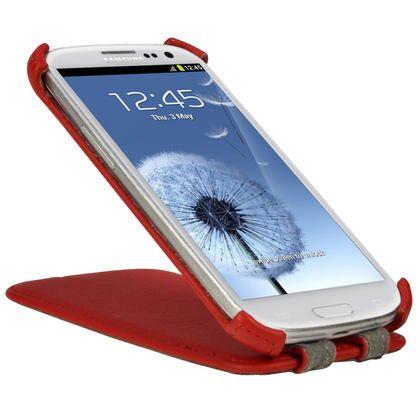 iGadgitz Red PU Leather Flip Case Cover Holder for Samsung Galaxy S3 III i9300 Android Smartphone Mobile Phone Thumbnail 4
