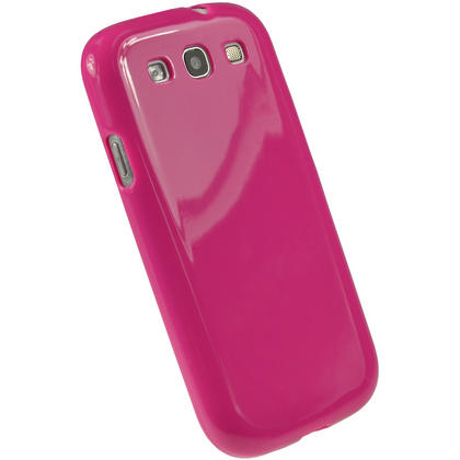 iGadgitz Hot Pink Glossy Gel Case for Samsung Galaxy S3 III i9300 + Screen Protector Thumbnail 3
