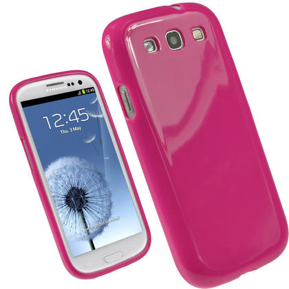 iGadgitz Hot Pink Glossy Gel Case for Samsung Galaxy S3 III i9300 + Screen Protector Thumbnail 1