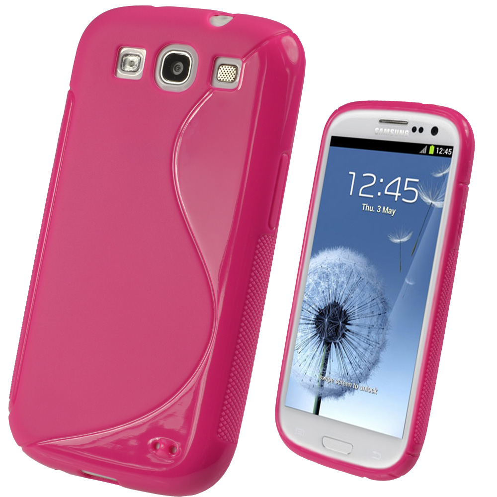 iGadgitz Dual Tone Hot Pink Gel Case for Samsung Galaxy S3 III i9300 + Screen Protector