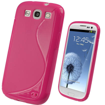 iGadgitz Dual Tone Hot Pink Gel Case for Samsung Galaxy S3 III i9300 + Screen Protector Thumbnail 1