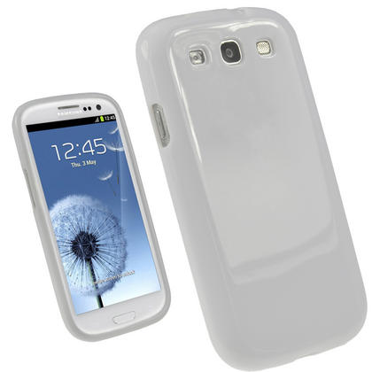 iGadgitz White Glossy Gel Case for Samsung Galaxy S3 III i9300 + Screen Protector Thumbnail 1