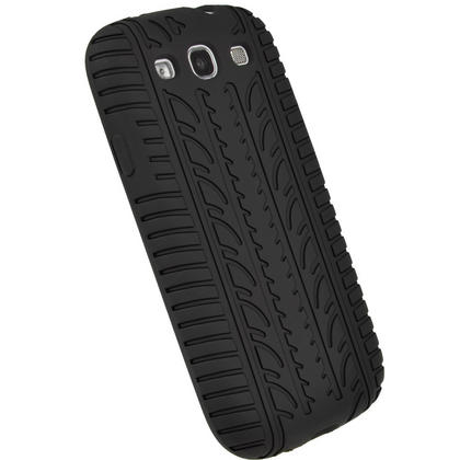 iGadgitz Black Silicone Skin Case Cover with Tyre Tread Design for Samsung Galaxy S3 III i9300 + Screen Protector Thumbnail 3
