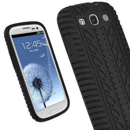 iGadgitz Black Silicone Skin Case Cover with Tyre Tread Design for Samsung Galaxy S3 III i9300 + Screen Protector Thumbnail 1