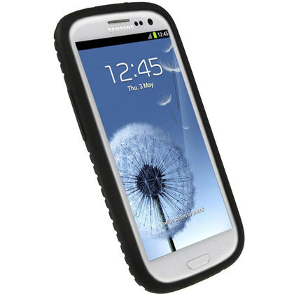 iGadgitz Black Silicone Skin Case Cover with Tyre Tread Design for Samsung Galaxy S3 III i9300 + Screen Protector Thumbnail 2