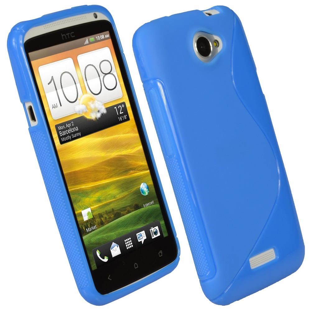 iGadgitz Dual Tone Blue Gel Case for HTC One X & HTC One X+ Plus S720e + Screen Protector (NOT Suitable For HTC ONE M7)
