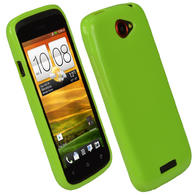 iGadgitz Green Glossy Gel Case for HTC One S + Screen Protector