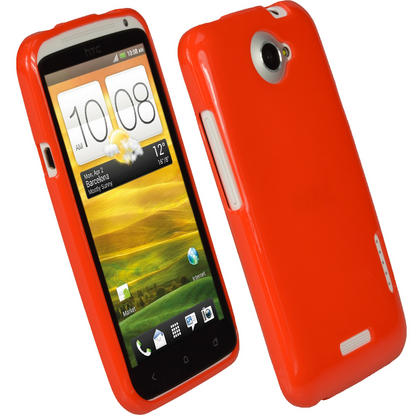 iGadgitz Red Glossy Gel Case for HTC One X S720e & HTC One X+ Plus + Screen Protector (NOT Suitable For HTC ONE M7) Thumbnail 1