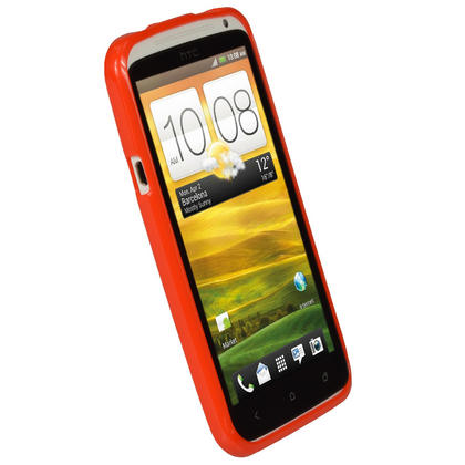 iGadgitz Red Glossy Gel Case for HTC One X S720e & HTC One X+ Plus + Screen Protector (NOT Suitable For HTC ONE M7) Thumbnail 2