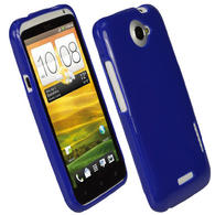 iGadgitz Blue Glossy Gel Case for HTC One X S720e & HTC One X+ Plus + Screen Protector (NOT Suitable For HTC ONE M7)