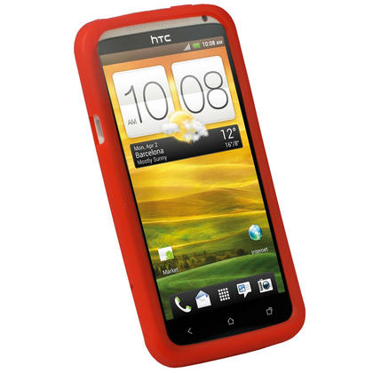 iGadgitz Red Silicone Skin Case for HTC One X S720e & HTC One X+ Plus + Screen Protector (NOT Suitable For HTC ONE M7) Thumbnail 3
